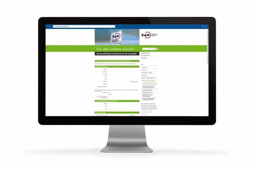 Formularansicht der ZAH Website