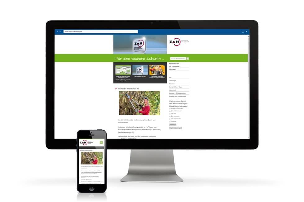 Die Startseite der ZAH Website für Desktop und Smartphones
