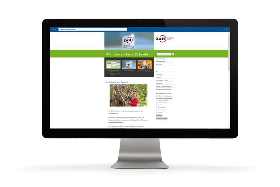 Die Startseite der ZAH Website
