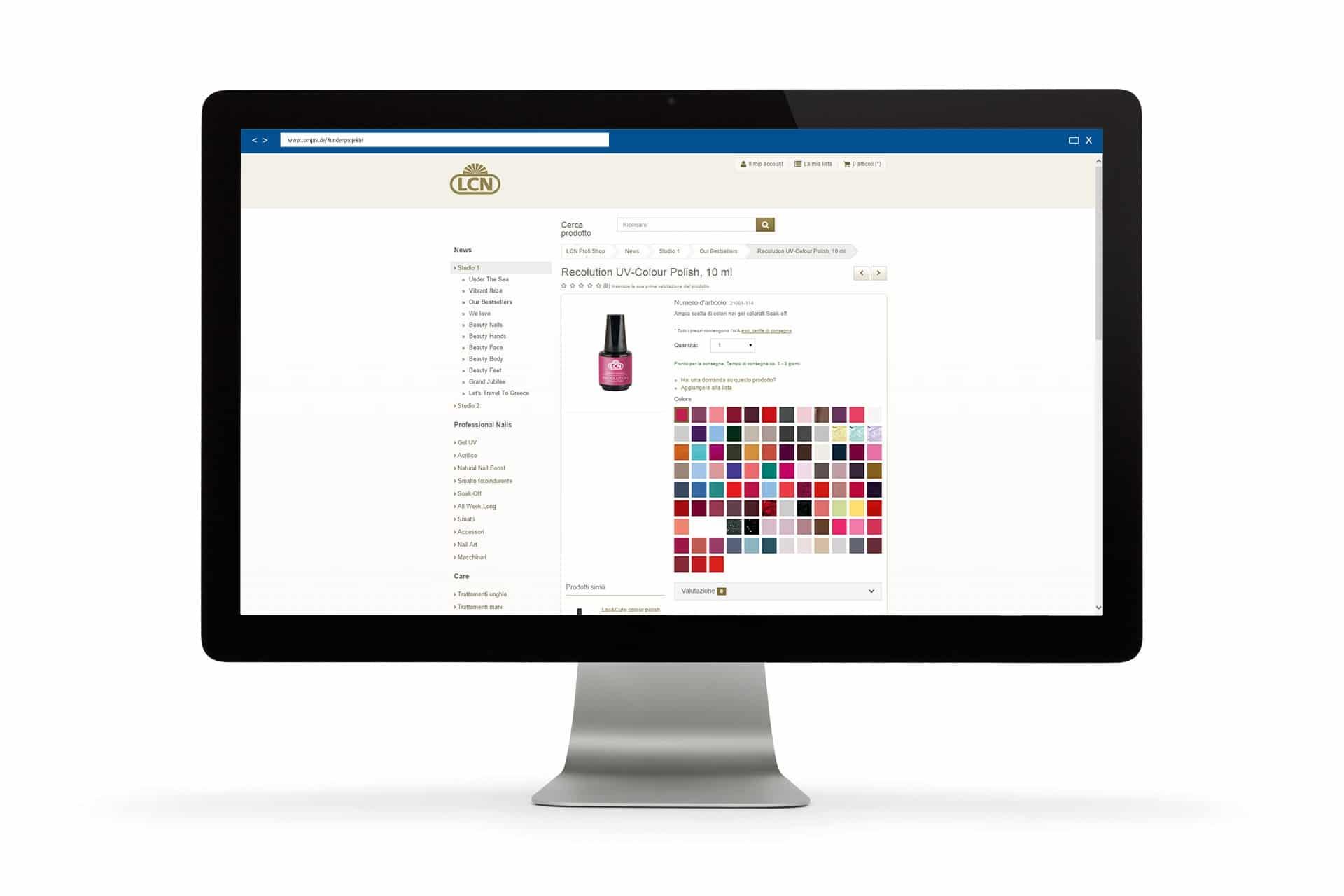 Auf der Produktdetailseite werden alle Farbvarianten in einer Liste dargestellt.