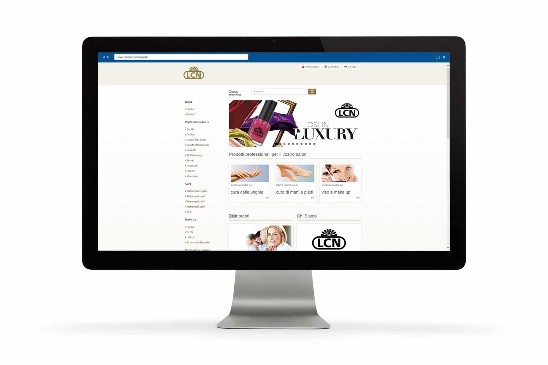 Die Startseite des LCN Profi Shops Italien